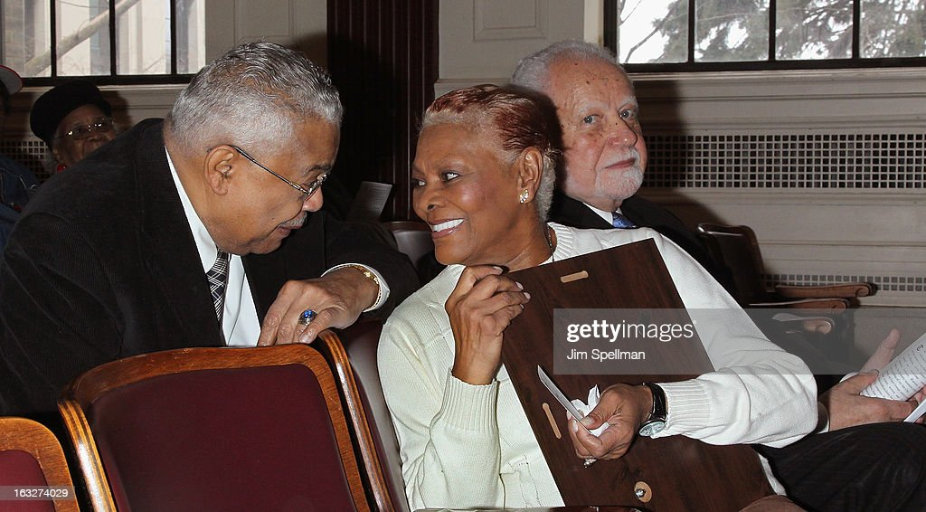 Actress Dionne Warwick (M) and Mayor of the City of East Orange NJ Robert L. Bowser (R) attend the 150th Anniversary of East Orange, New Jersey at Council Chambers on March 6, 2013 in East Orange, New Jersey.