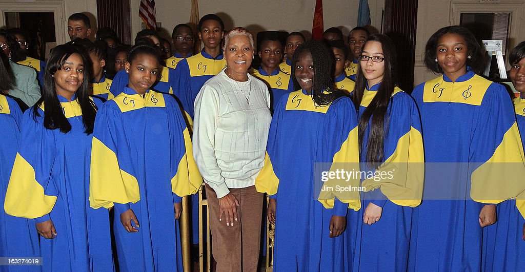 Actress Dionne Warwick (M) and the Cicely L. Tyson Performing & Fine Arts Middle School choir attend the 150th Anniversary of East Orange, New Jersey at Council Chambers on March 6, 2013 in East Orange, New Jersey.
