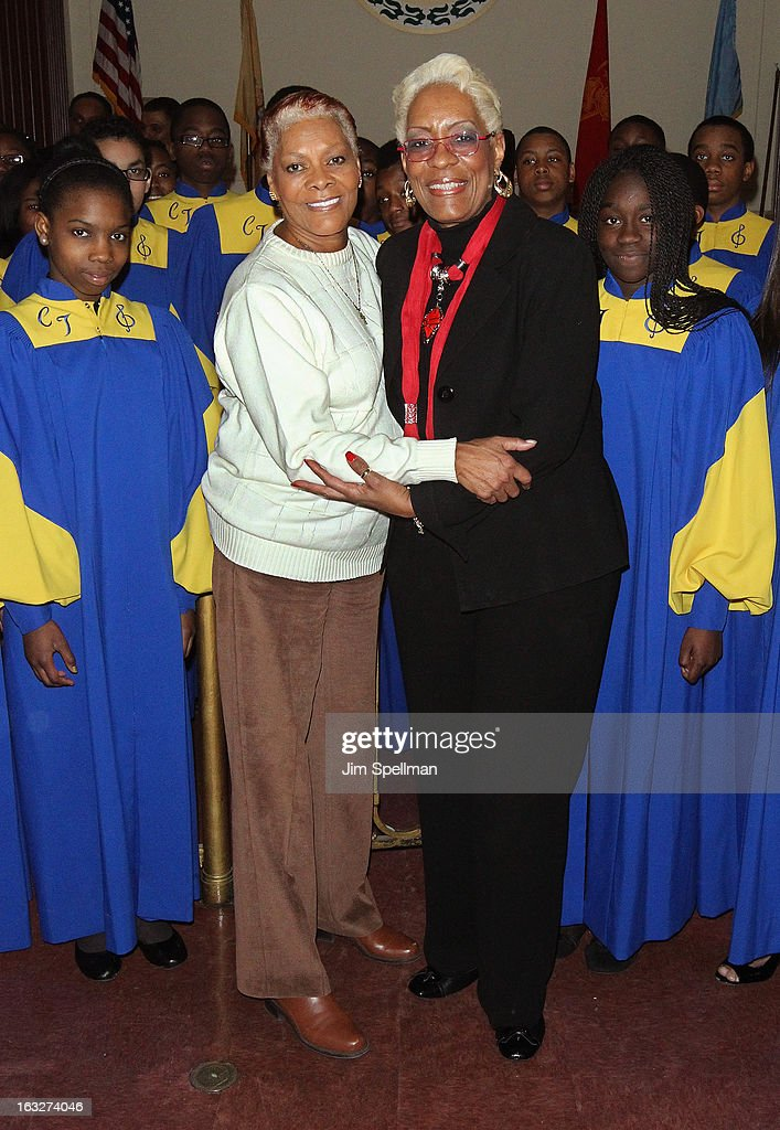 Actress <a gi-track='captionPersonalityLinkClicked' href=/galleries/search?phrase=Dionne+Warwick&family=editorial&specificpeople=213111 ng-click='$event.stopPropagation()'>Dionne Warwick</a>, vocal music teacher and choir director Jean James and the Cicely L. Tyson Performing & Fine Arts Middle School choir attends the 150th Anniversary of East Orange, New Jersey at Council Chambers on March 6, 2013 in East Orange, New Jersey.