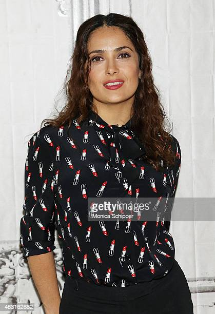 Actress director and producer Salma Hayek attends AOL BUILD Speaker Series 'Kahlil Gibran's The Prophet' at AOL Studios In New York on August 6 2015...