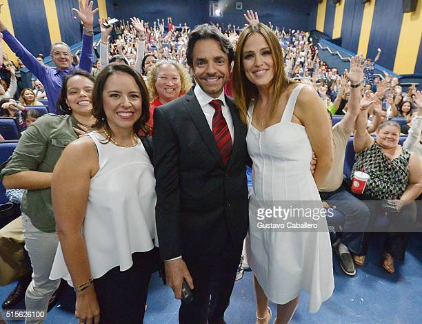 Actress Director Patricia Riggen Actor Eugenio Derbez and Actress Jennifer Garner attend the 'Miracles From Heaven' Miami Red Carpet at Regal South...