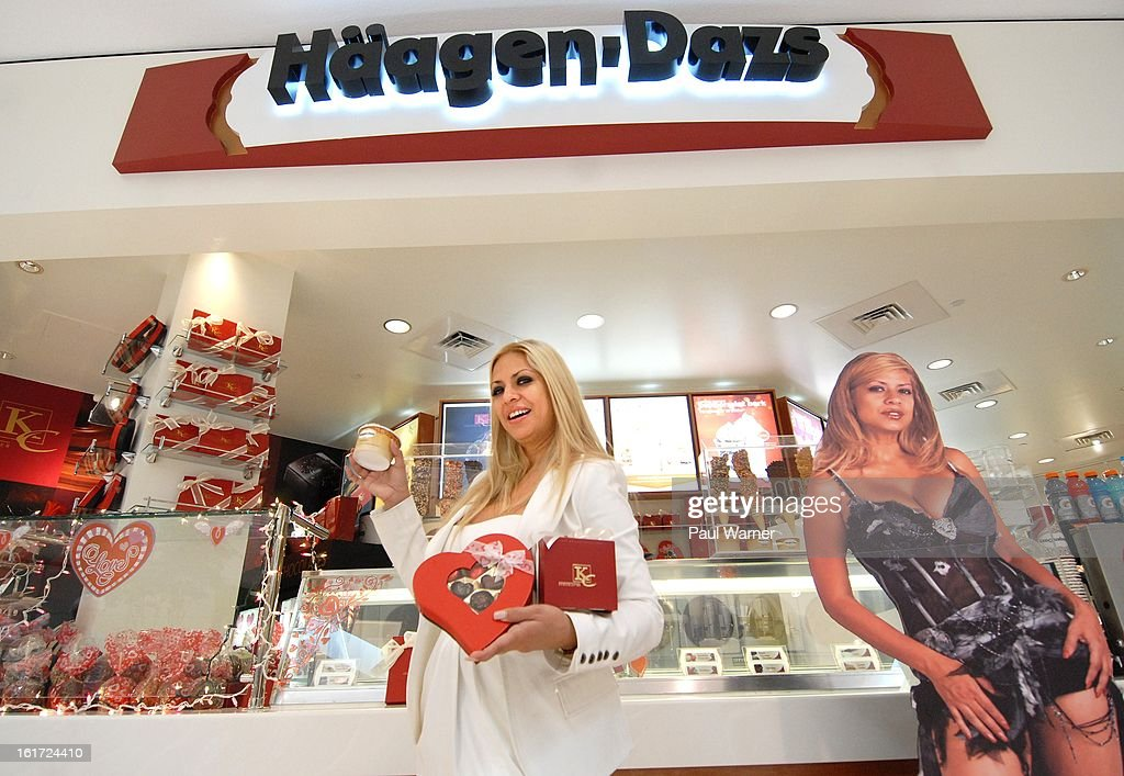 Actress <a gi-track='captionPersonalityLinkClicked' href=/galleries/search?phrase=Dita+de+Leon&family=editorial&specificpeople=635438 ng-click='$event.stopPropagation()'>Dita de Leon</a> poses at the Haagen-Dazs/KC Chocolatier Store at the Twelve Oaks Mall on February 14, 2013 in Novi, Michigan.