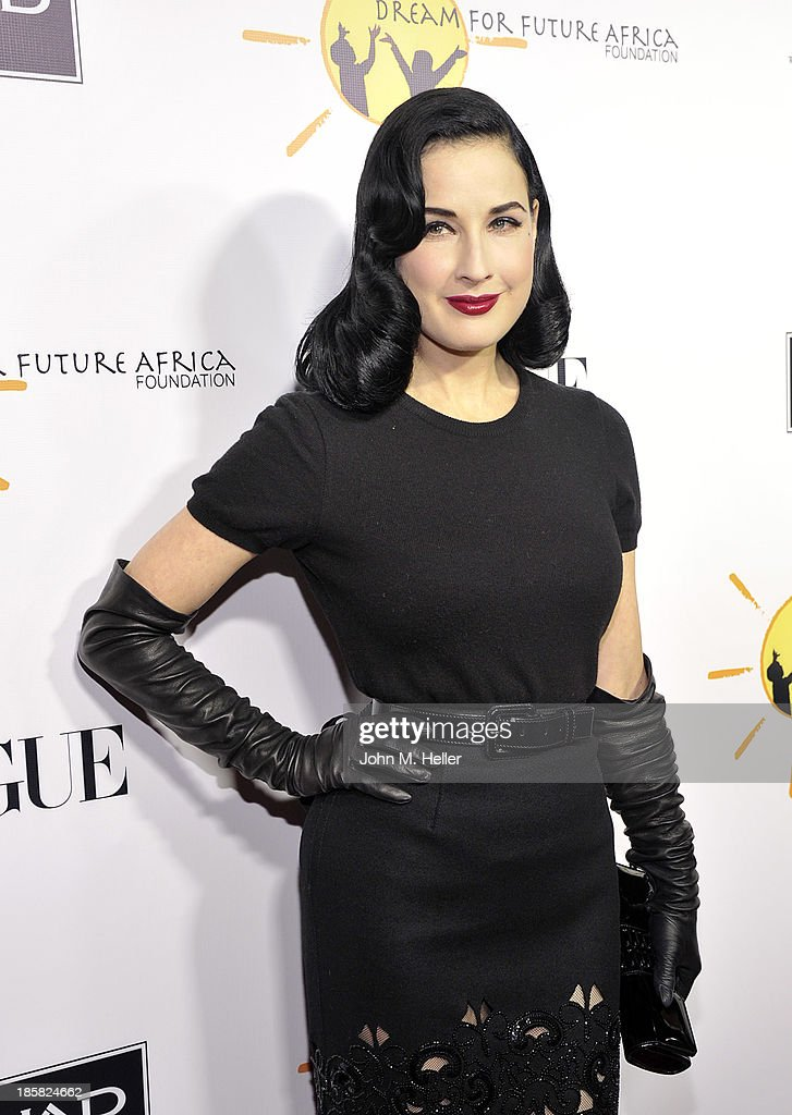 Actress Dita Von Teese attends the Dream For Future Africa Foundation's Inaugural Gala Honoring Franca Sozzani Of VOGUE Italia at Spago on October 24, 2013 in Beverly Hills, California.
