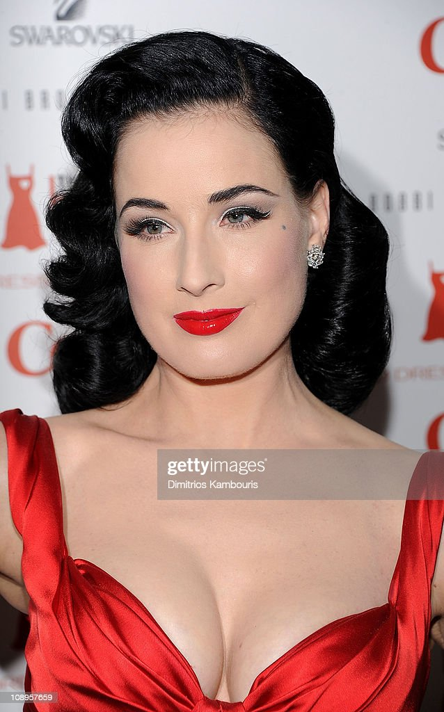 Actress <a gi-track='captionPersonalityLinkClicked' href=/galleries/search?phrase=Dita+Von+Teese&family=editorial&specificpeople=210578 ng-click='$event.stopPropagation()'>Dita Von Teese</a> attends the Heart Truth's Red Dress Collection 2011 during Mecerdes-Benz fashion week at The Theatre at Lincoln Center on February 9, 2011 in New York City.