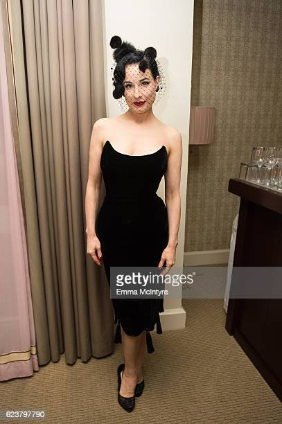 Actress Dita Von Teese attends the Zuhair Murad cocktail party at Sunset Tower Hotel on November 16 2016 in West Hollywood California