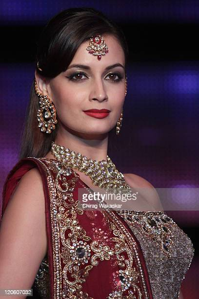 Actress Diya Mirza walks the runway in an Vikram Phadnis outfit at Blenders Pride Fashion Tour Mumbai Day 3 held at Taj Lands End on August 7 2011 in...