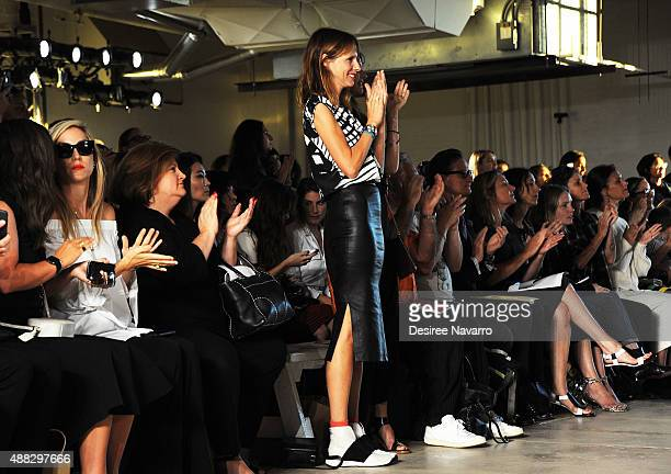 Actress Dolly Wells attends Zero Maria Cornejo Front Row Backstage Spring 2016 New York Fashion Week at Shop Studios on September 14 2015 in New York...