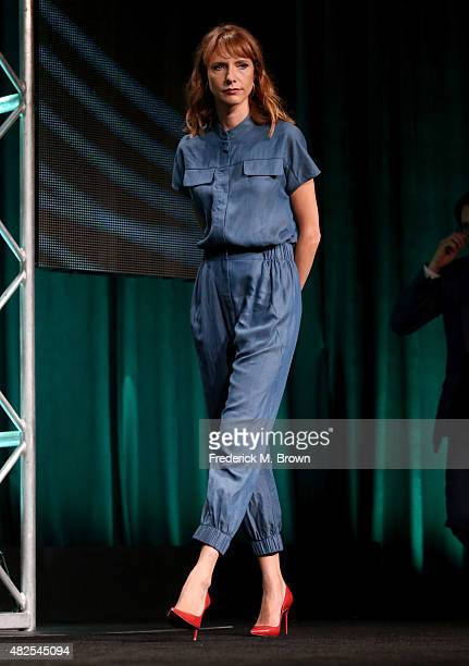 Actress Dolly Wells speaks onstage during the 'Blunt Talk' panel discussion at the STARZ portion of the 2015 Summer TCA Tour at The Beverly Hilton...