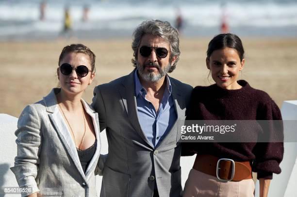Actress Dolores Fonzi actor Ricardo Darin and actress Elena Anaya attend 'La Cordillera' photocall during the 65th San Sebastian International Film...