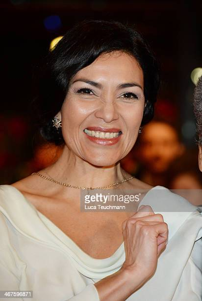 Actress Dolores Heredia attends the 'Two Men in Town' premiere during 64th Berlinale International Film Festival at Berlinale Palast on February 7...