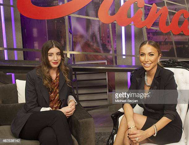 Actress Dominik GarciaLorido and Host Diana Madison on set at Dominik GarciaLorido Visits The Lowdown With Diana Madison on January 30 2015 in...
