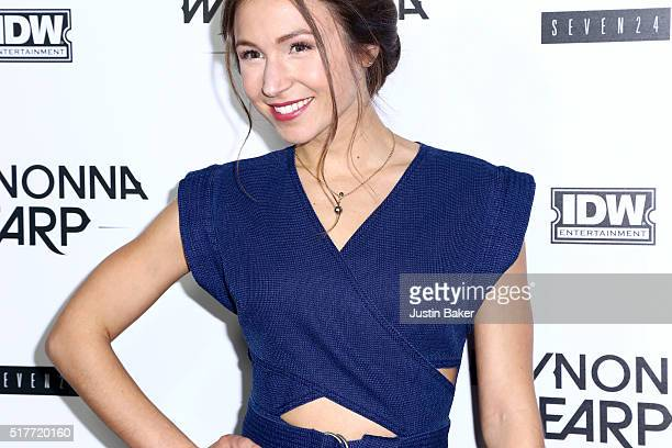 Actress Dominique ProvostChalkley jewelry detail attends the premiere of Syfy's 'Wynonna Earp' at WonderCon 2016 at Regal LA Live Stadium 14 on March...