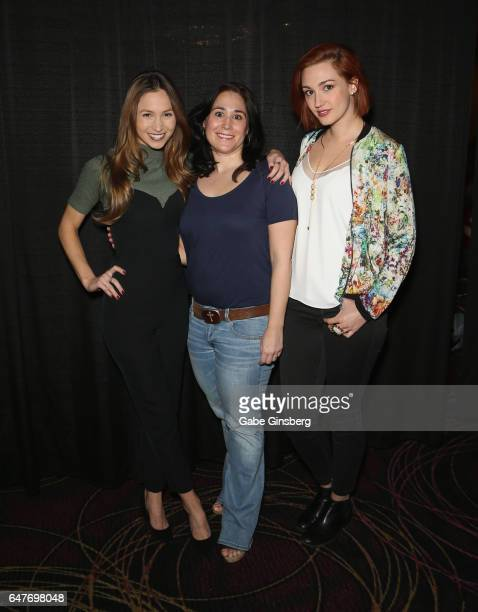 Actress Dominique ProvostChalkley television producer Emily Andras and actress Katherine Barrell attend 'The WayHaught Women of Wynonna Earp' panel...