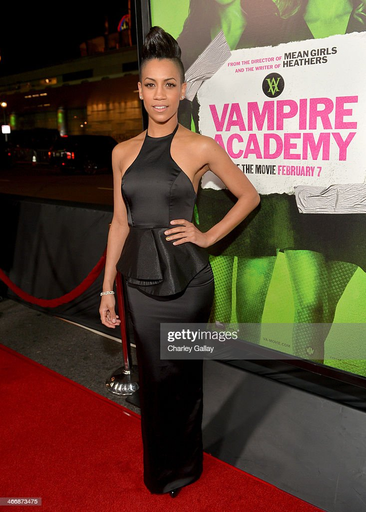 Actress Dominique Tipper arrives at The Weinstein Company's premiere of 'Vampire Academy' at Regal 14 at L.A. Live Downtown on February 4, 2014 in Los Angeles, California.