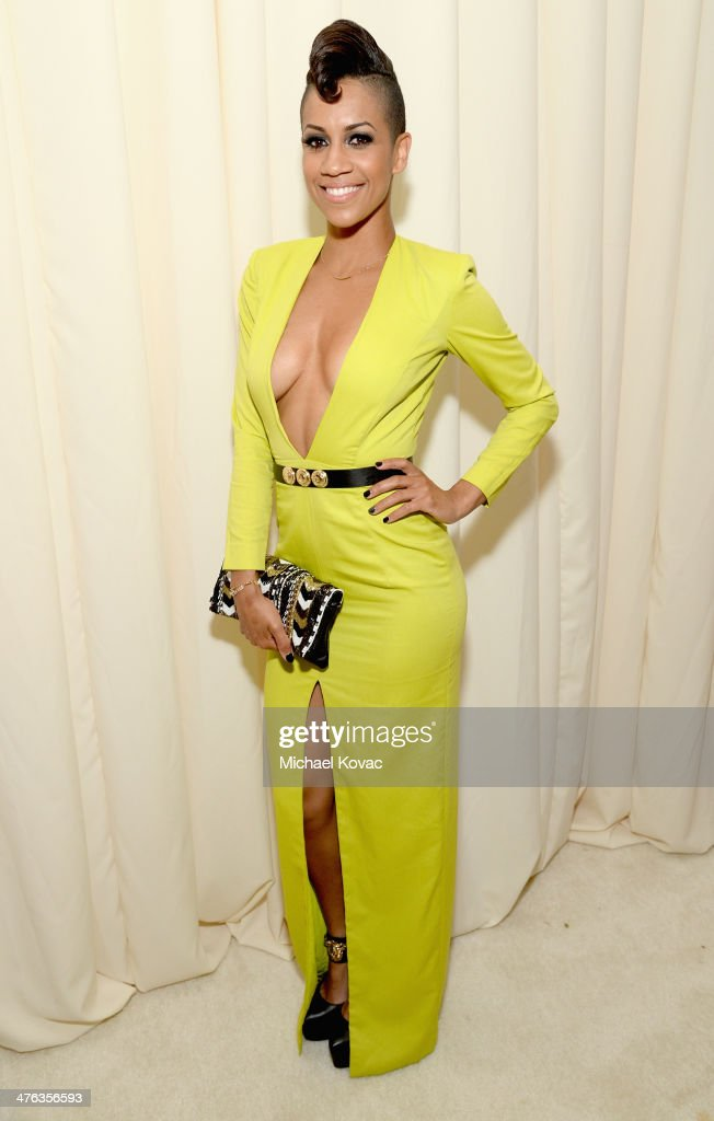 Actress Dominique Tipper attends the 22nd Annual Elton John AIDS Foundation Academy Awards Viewing Party at The City of West Hollywood Park on March 2, 2014 in West Hollywood, California.