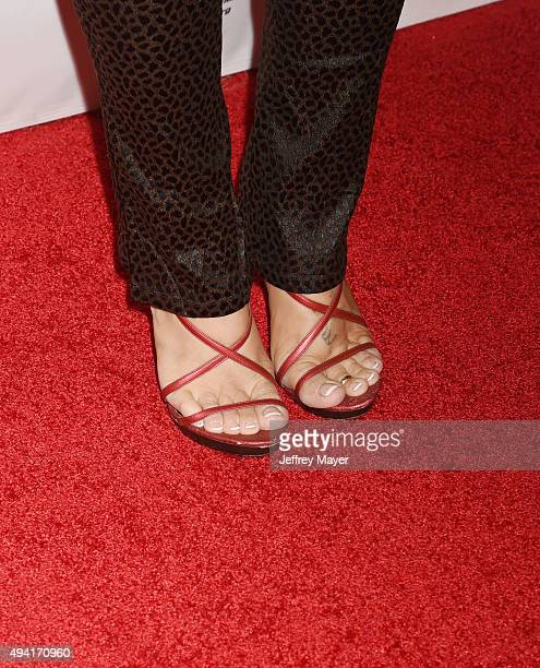 Actress Donna D'Errico shoes detail at the Last Chance for Animals Benefit Gala at The Beverly Hilton Hotel on October 24 2015 in Beverly Hills...