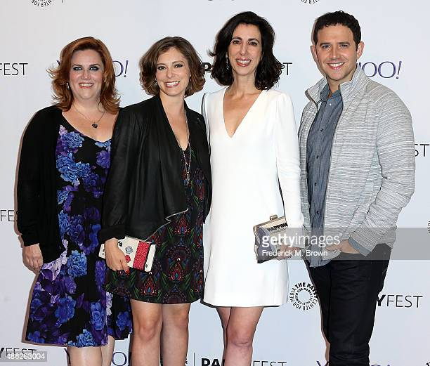 Actress Donna Lynne Champlin Rachel Bloom Aline Brosh McKenna and Santino Fontana of the television show 'Crazy ExGirlfriend' attend The Paley Center...