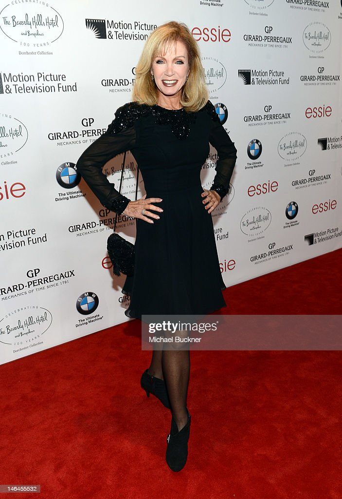 Actress <a gi-track='captionPersonalityLinkClicked' href=/galleries/search?phrase=Donna+Mills&family=editorial&specificpeople=217252 ng-click='$event.stopPropagation()'>Donna Mills</a> attends the 100th anniversary celebration of the Beverly Hills Hotel & Bungalows supporting the Motion Picture & Television Fund and the American Comedy Fund hosted by Brett Ratner and Warren Beatty at Beverly Hills Hotel on June 16, 2012 in Beverly Hills, California.