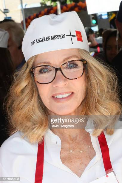Actress Donna Mills is seen at the Los Angeles Mission Thanksgiving Meal for the homeless at the Los Angeles Mission on November 22 2017 in Los...