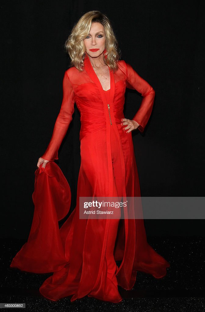 Actress <a gi-track='captionPersonalityLinkClicked' href=/galleries/search?phrase=Donna+Mills&family=editorial&specificpeople=217252 ng-click='$event.stopPropagation()'>Donna Mills</a> prepares backstage at the Go Red For Women Red Dress Collection 2015 presented by Macy's fashion show during Mercedes-Benz Fashion Week Fall 2015 at The Theatre at Lincoln Center on February 12, 2015 in New York City.