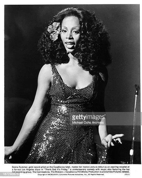 Actress Donna Summer on the set of the Columbia Pictures movie ' Thank God It's Friday' in 1978