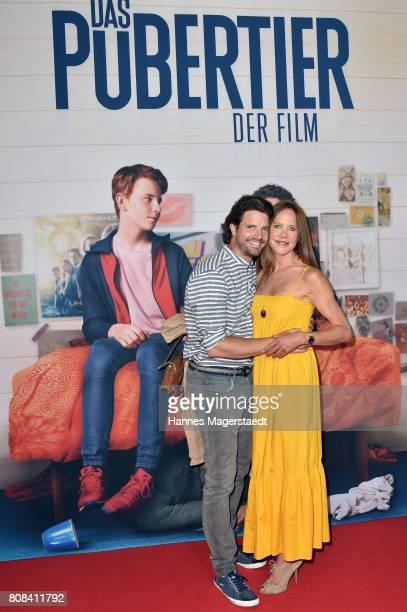 Actress Doreen Dietel and her boyfriend Tobias Guttenberg during the ''Das Pubertier'' premiere at Mathaeser Filmpalast on July 4 2017 in Munich...
