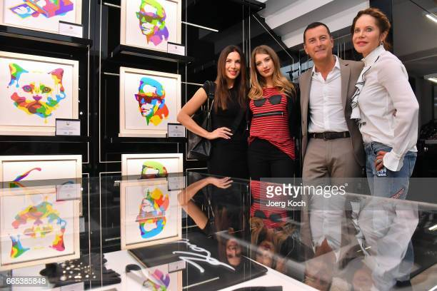 Actress Doreen Dietel Karl Lagerfeld CEO Pier Paolo Righi TV host Cathy Hummels and TV host Alexandra Polzin attend the store event 'Karl Lagerfeld x...