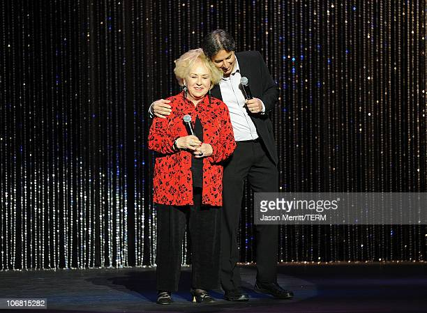 Actress Doris Roberts and Host Ray Romano speak onstage at the 4th Annual Comedy Celebration Benefiting the Peter Boyle Fund hosted by the...