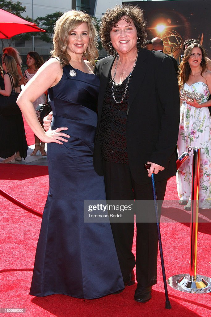 Actress Dot-Marie Jones (R) and guest attend the 2013 Creative Arts Emmy Awards Ceremony held at the Nokia Theatre L.A. Live on September 15, 2013 in Los Angeles, California.