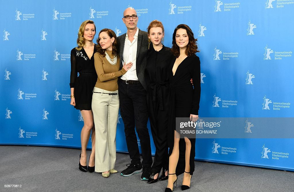 Actress Dounia Sichov, Canadian actress Simone-Elise Girard, German actor James Hyndman, German actress Isolda Dychauk, and Actress Laetitia Isambert-Denis pose during the photo call of the film 'Boris sans Beatrice | Boris without Beatrice' by Canadian director Denis Cote in competition at the 66th Berlinale Film Festival in Berlin on February 12, 2016. / AFP / TOBIAS SCHWARZ