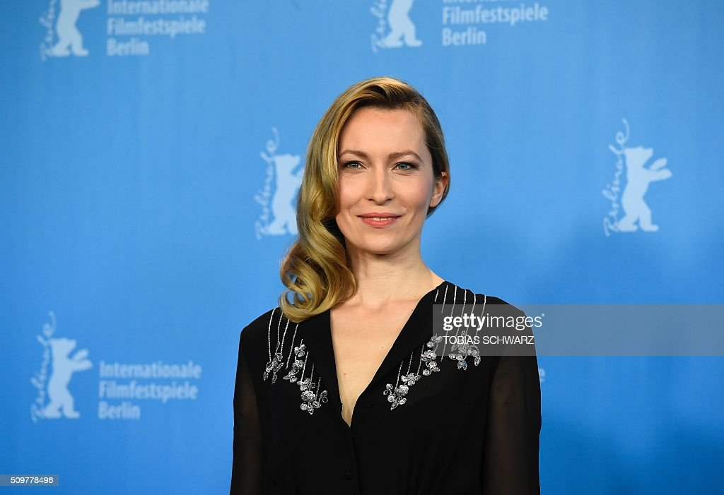 Actress Dounia Sichov poses during a photo call of the film 'Boris sans Beatrice | Boris without Beatrice' by Canadian director Denis Cote in competition at the 66th Berlinale Film Festival in Berlin on February 12, 2016. / AFP / TOBIAS SCHWARZ