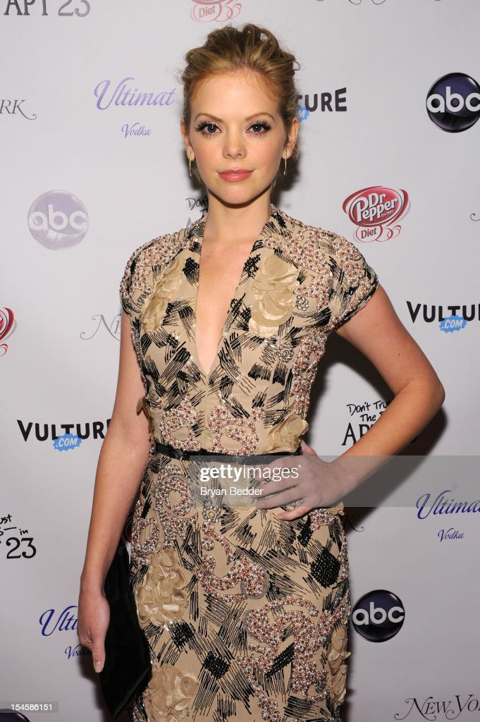 Actress <a gi-track='captionPersonalityLinkClicked' href=/galleries/search?phrase=Dreama+Walker&family=editorial&specificpeople=5502455 ng-click='$event.stopPropagation()'>Dreama Walker</a> attends the premiere party for 'Don't Trust The B---- In Apt 23' hosted by New York Magazine and Vulture at Toro Lounge at Plein Sud on October 22, 2012 in New York City.