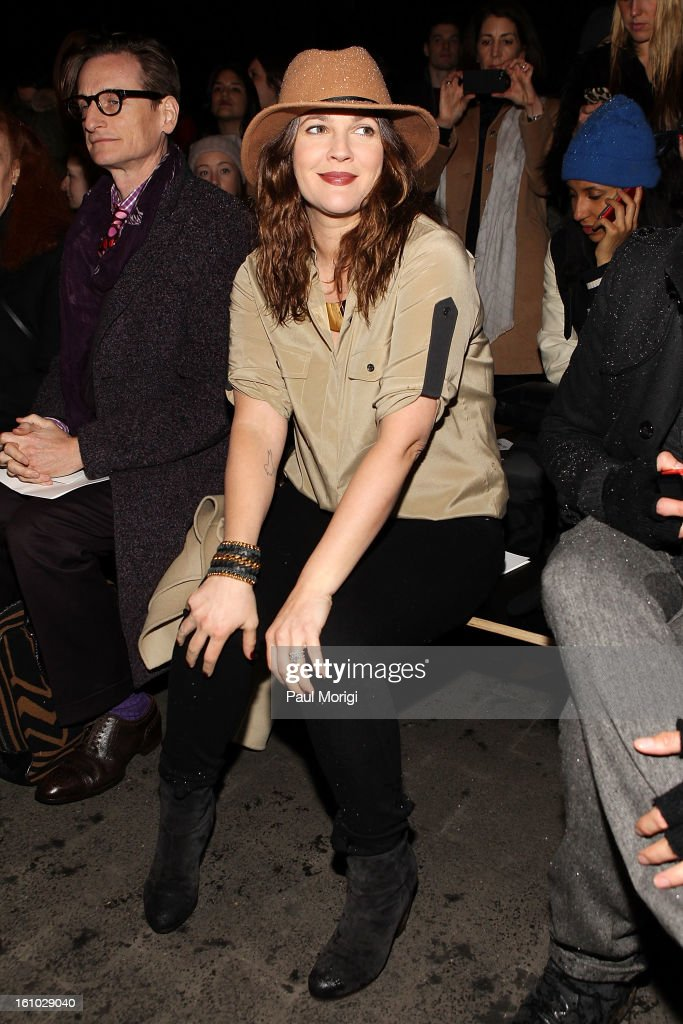 Actress Drew Barrymore along the front row at Rag & Bone Women's Collection during Fall 2013 Mercedes-Benz Fashion Week at Skylight Studios at Moynihan Station on February 8, 2013 in New York City.