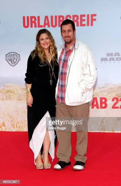 Actress Drew Barrymore and actor Adam Sandler attend the premiere of the film 'Blended' at CineStar on May 19 2014 in Berlin Germany