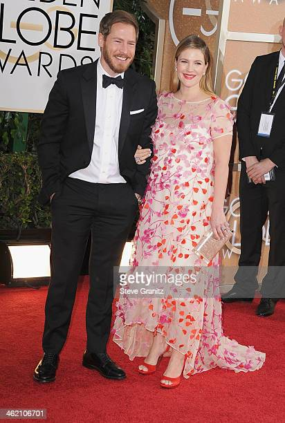 Actress Drew Barrymore and actor Will Kopelman attend the 71st Annual Golden Globe Awards held at The Beverly Hilton Hotel on January 12 2014 in...