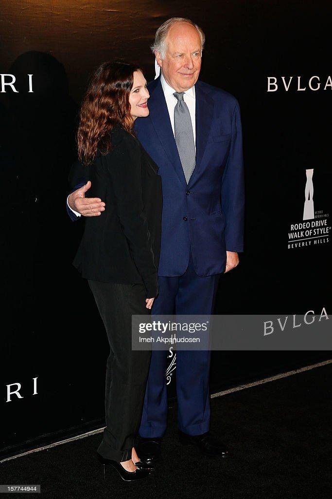 Actress Drew Barrymore (L) and Bulgari Vice Chairman Nicola Bulgari attend the Rodeo Drive Walk Of Style honoring BVLGARI held at Bulgari on December 5, 2012 in Beverly Hills, California.