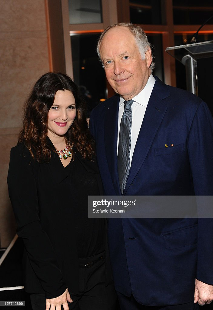 Actress Drew Barrymore and honoree Nicola Bulgari attend the Rodeo Drive Walk Of Style honoring BVLGARI and Mr Nicola Bulgari held at Bulgari on...