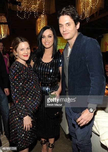 Actress Drew Barrymore and recording artists Katy Perry and John Mayer attend Hollywood Stands Up To Cancer Event with contributors American Cancer...