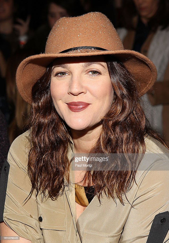 Actress <a gi-track='captionPersonalityLinkClicked' href=/galleries/search?phrase=Drew+Barrymore&family=editorial&specificpeople=201623 ng-click='$event.stopPropagation()'>Drew Barrymore</a> attends Rag & Bone Women's Collection during Fall 2013 Mercedes-Benz Fashion Week at Skylight Studios at Moynihan Station on February 8, 2013 in New York City.