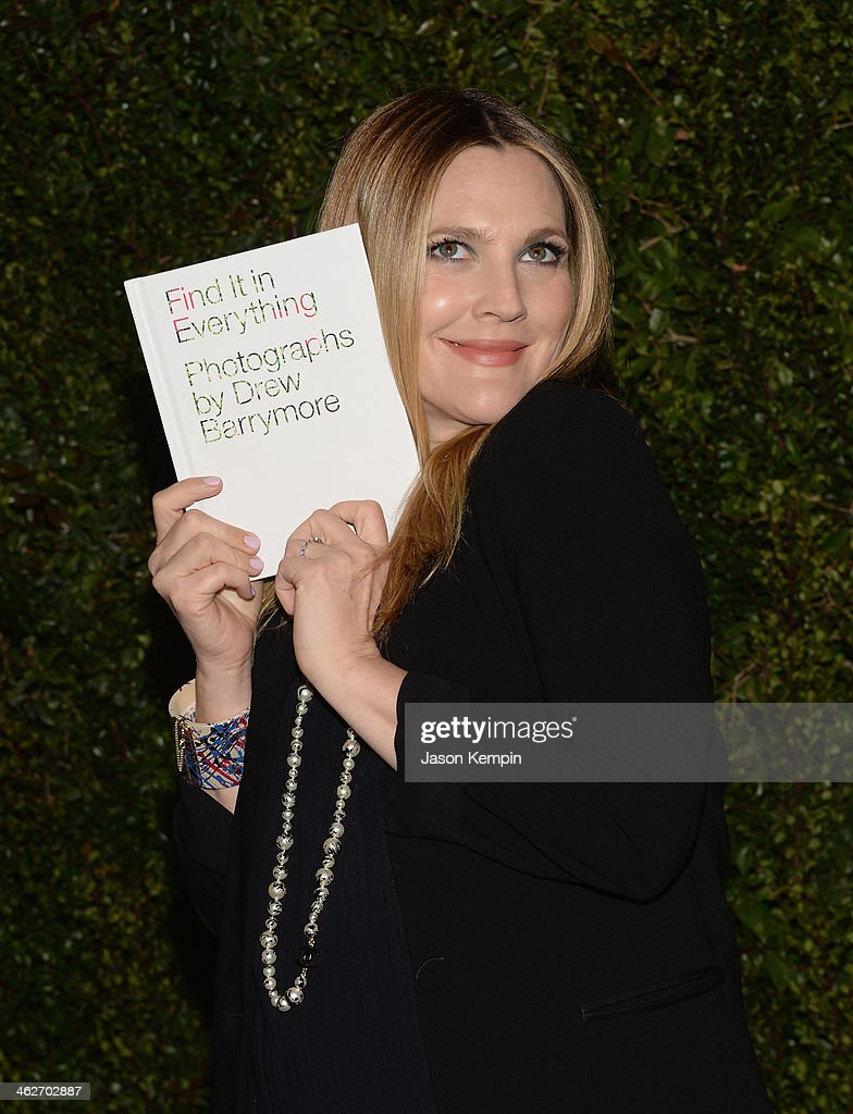 Actress <a gi-track='captionPersonalityLinkClicked' href=/galleries/search?phrase=Drew+Barrymore&family=editorial&specificpeople=201623 ng-click='$event.stopPropagation()'>Drew Barrymore</a> attends the Chanel Celebration of the release of <a gi-track='captionPersonalityLinkClicked' href=/galleries/search?phrase=Drew+Barrymore&family=editorial&specificpeople=201623 ng-click='$event.stopPropagation()'>Drew Barrymore</a>'s Photo Book 'Find It In Everything' at Chanel Boutique on January 14, 2014 in Beverly Hills, California.