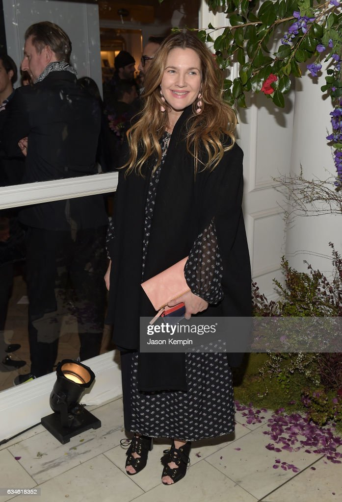 Actress Drew Barrymore attends the Club Monaco Presentation at Club Monaco Fifth Avenue on February 10, 2017 in New York City.
