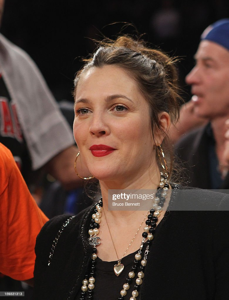Actress Drew Barrymore attends the game between the New York Knicks and the Chicago Bulls at Madison Square Garden on January 11, 2013 in New York City.