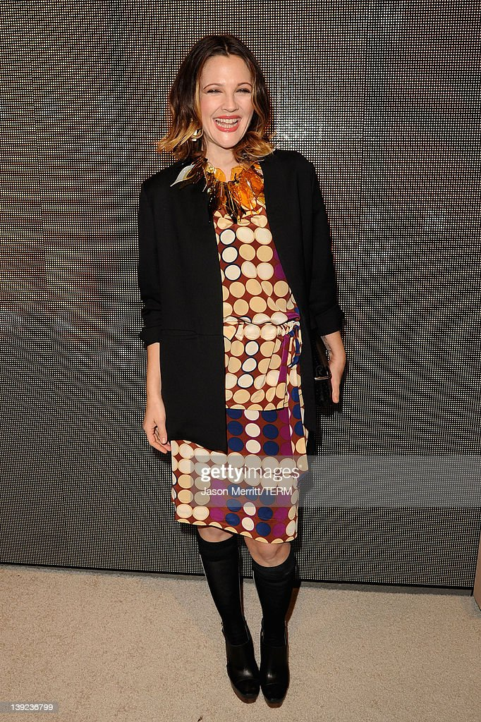 Actress <a gi-track='captionPersonalityLinkClicked' href=/galleries/search?phrase=Drew+Barrymore&family=editorial&specificpeople=201623 ng-click='$event.stopPropagation()'>Drew Barrymore</a> attends the Marni at H&M Collection Launch at Lloyd Wright's Sowden House on February 17, 2012 in Los Angeles, California.