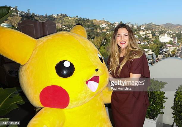 Actress Drew Barrymore attends the Pokemon Afternoon Soiree at The Sunset Tower Hotel on February 27 2016 in West Hollywood California