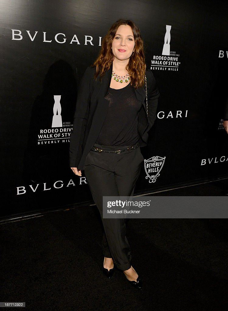 Actress Drew Barrymore attends the Rodeo Drive Walk Of Style honoring BVLGARI and Mr. Nicola Bulgari held at Bulgari on December 5, 2012 in Beverly Hills, California.