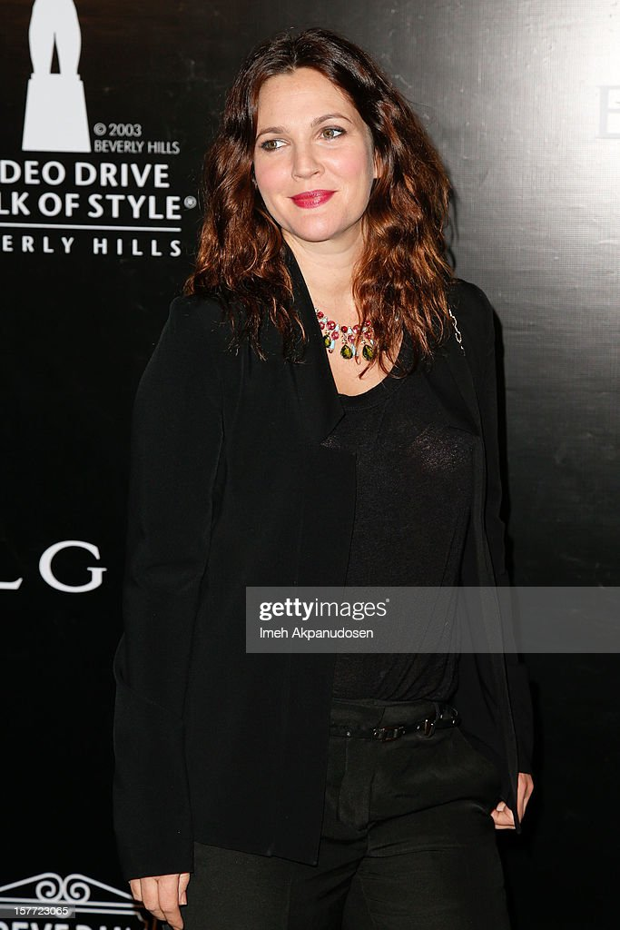 Actress Drew Barrymore attends the Rodeo Drive Walk Of Style honoring BVLGARI and Mr. Nicola Bulgari held at Bulgari on December 5, 2012 in Beverly Hills, California.