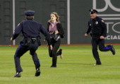 Actress Drew Barrymore during the filming of a scene from 'Fever Pitch' the Farrelly Brother's new film after the Red Sox game at Fenway Park in...