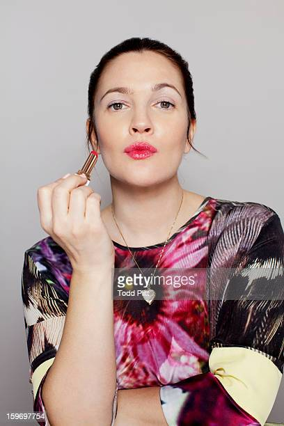 Actress Drew Barrymore is photographed with her new cosmetic line 'Flower' for USA Today on January 14 2013 in New York City