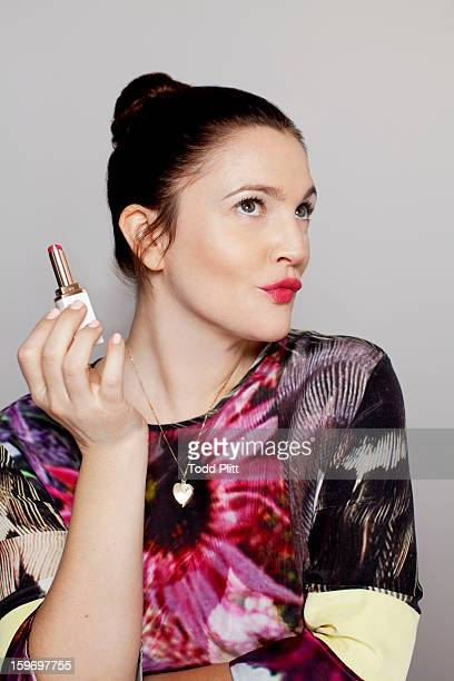 Actress Drew Barrymore is photographed with her new cosmetic line 'Flower' for USA Today on January 14 2013 in New York City PUBLISHED IMAGE