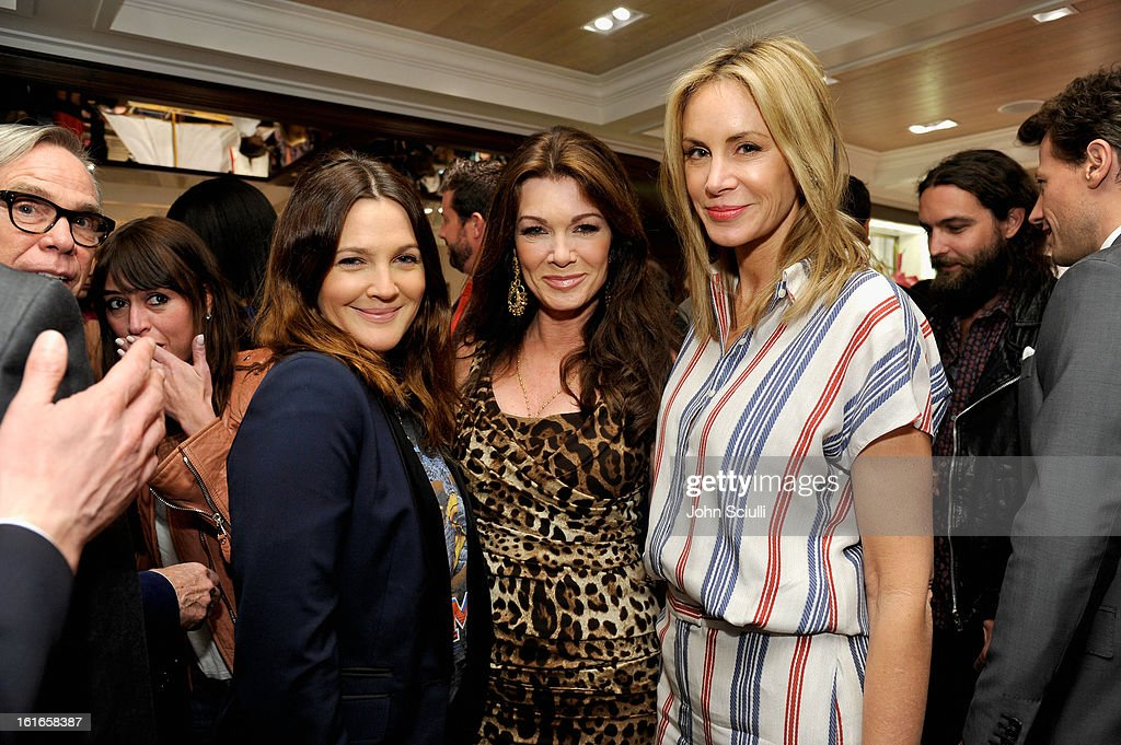 Actress Drew Barrymore, tv Personality Lisa Vanderpump, and Dee Hilfiger attend Tommy Hilfiger New West Coast Flagship Opening on Robertson Boulevard on February 13, 2013 in West Hollywood, California.